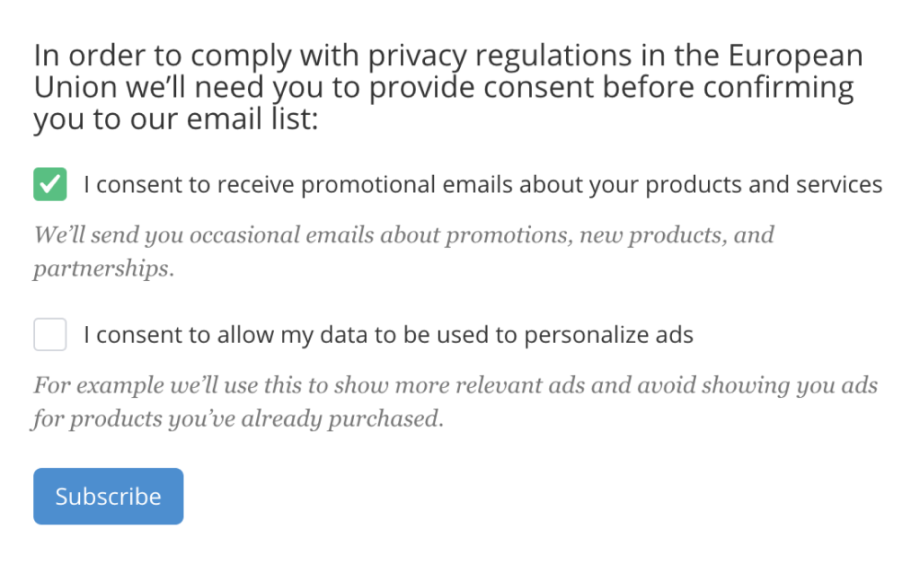 consent checkboxes